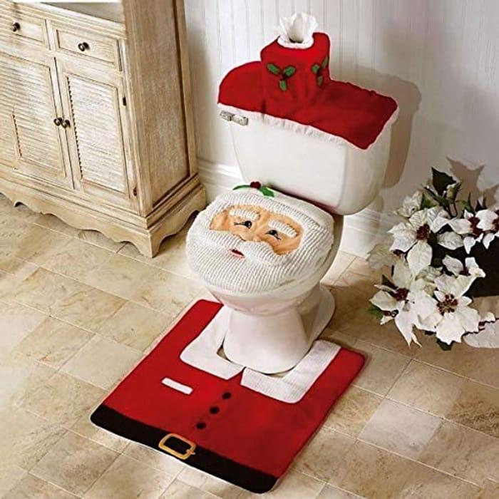 3pc Christmas Festive Toilet Seat Cover
