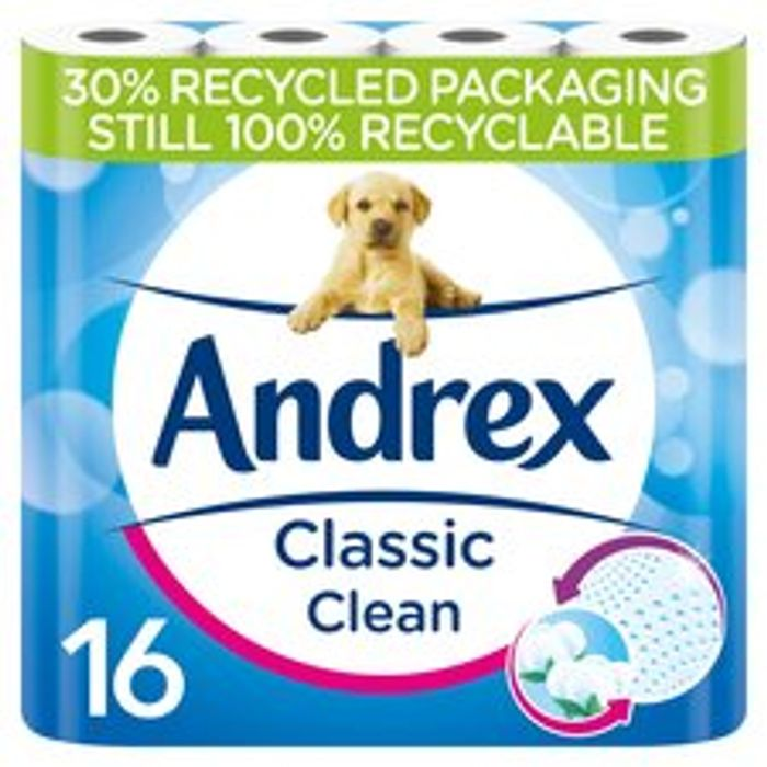 Andrex Toilet Tissue Classic Clean 16 Roll Only £6.50