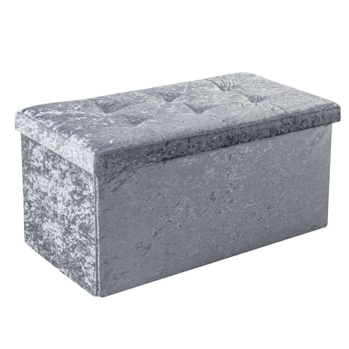 Crushed Velvet Ottoman Available in Grey or Blush