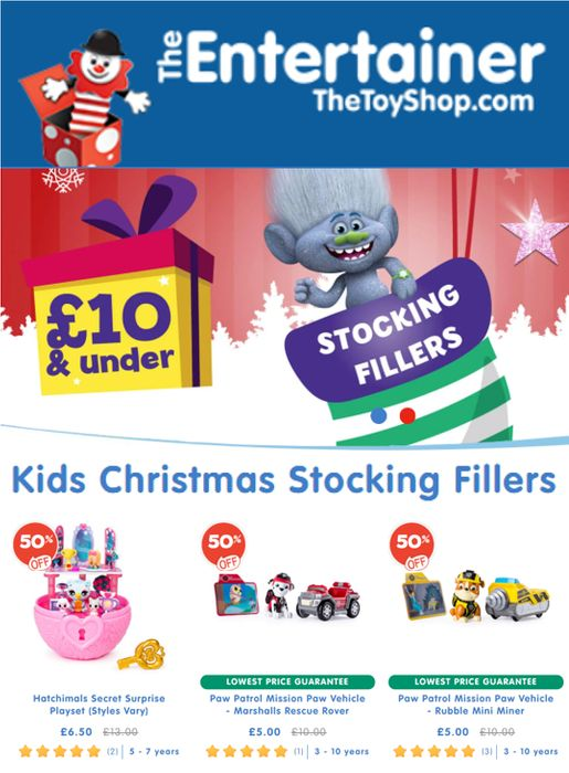 500+ Stocking Fillers - £10 and Under - LOTS OF TOYS HALF PRICE! The Entertainer