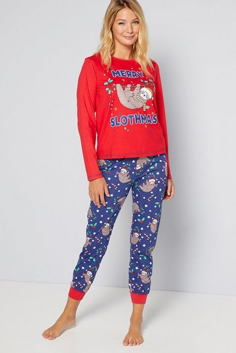 Long Sleeve Merry Slothmas Christmas Pyjamas - Only £8!