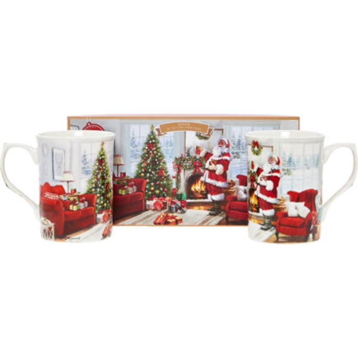 THE LEONARDO COLLECTION Two Piece Santa China Mug Set