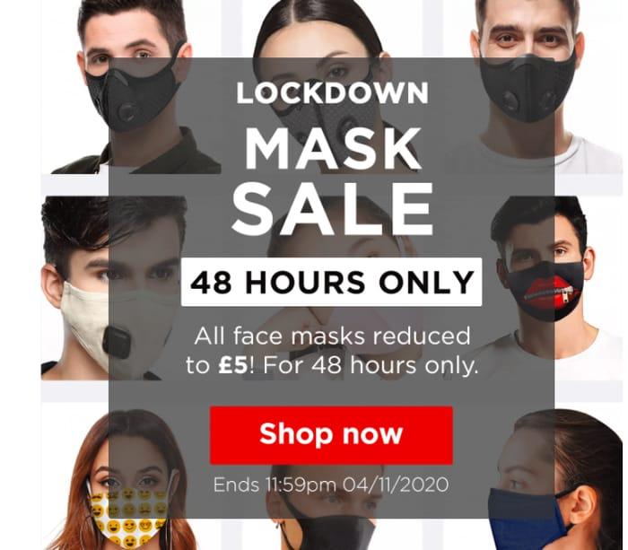 Lockdown Mask Sale - All Masks £5 Each Delivered for 48 Hours