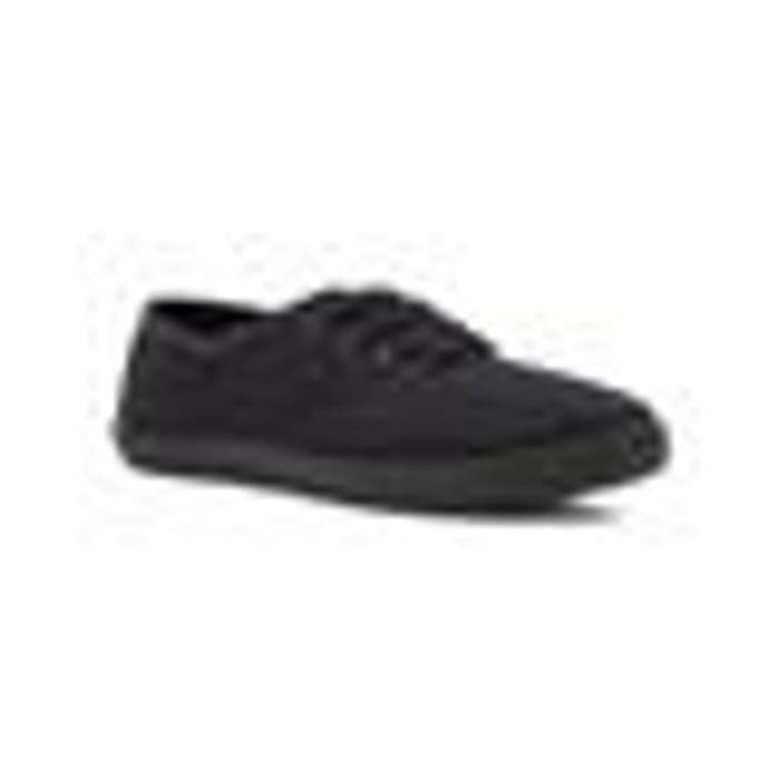 Womens Plain Lace up Black Canvas Shoe