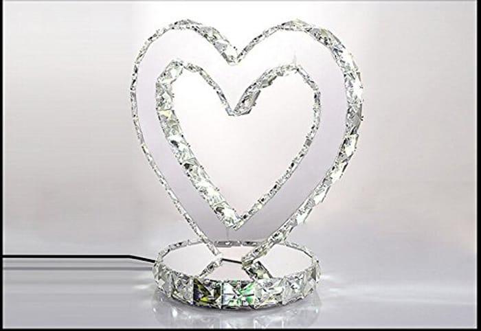 Heart Shape Modern Chrome Crystal Desk Lamps