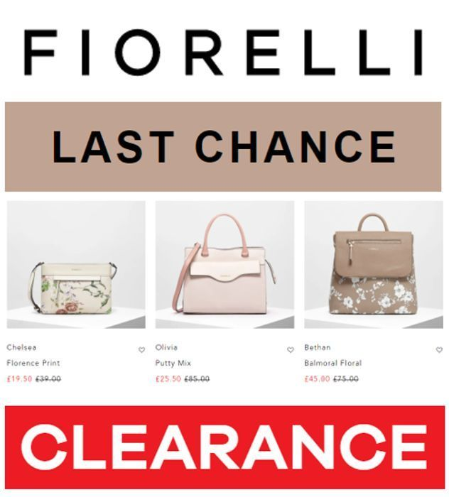CHEAP! FIORELLI HANDBAGS - Last Chance Clearance - up to 70% Off
