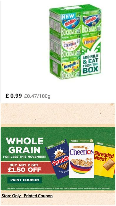 Nestle Cereals (any 2 - £1.50 Off)
