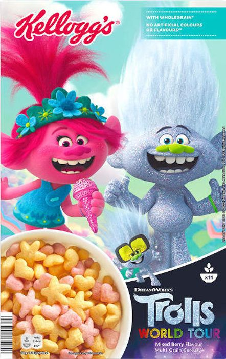 Best Price! Kellogg's Trolls Mixed Berry Flavour Multi-Grain Shapes Cereal 350g