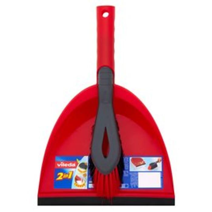 Vileda Red Dustpan and Brush Set