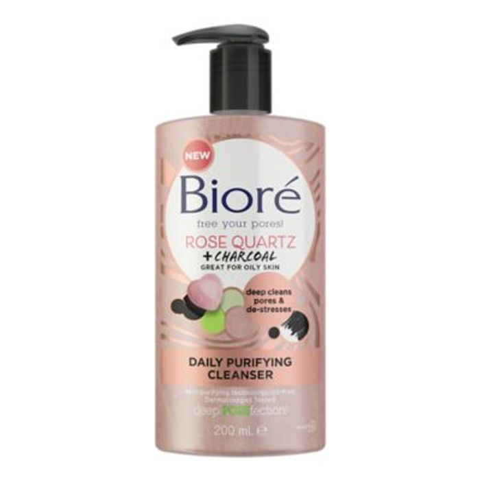 Bior Rose Quartz & Charcoal Daily Purifying Face Wash Cleanser 200ml Oily Skin