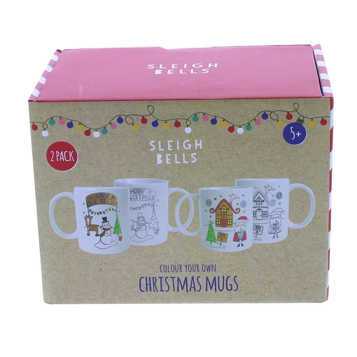 Sleigh Bells Colour Your Own Christmas Mugs