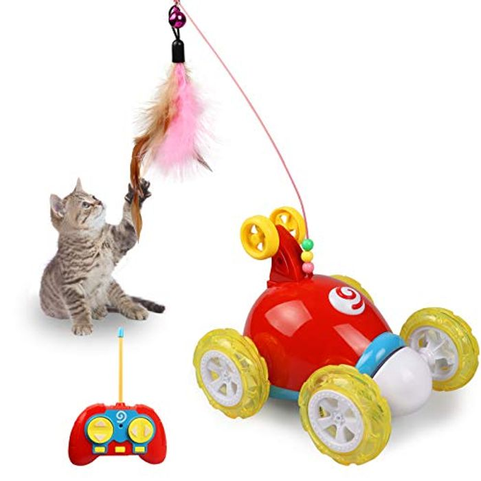 Remote Control Cat Feather Toy, Interactive Robotic Toy