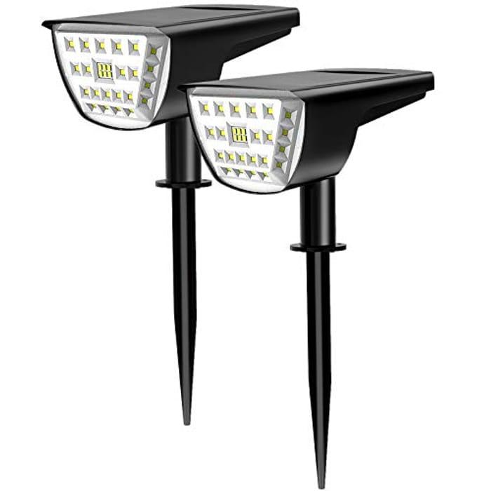LED Solar Landscape Garden Spotlights - 2 Pack
