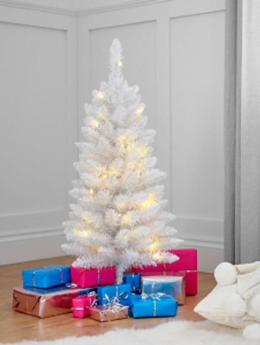 3ft Pre-Lit Christmas Trees White, Green, Blue or Pink - Free C&C