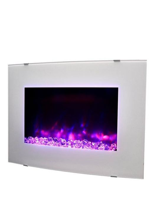 *SAVE £65* Swan Curved Wall Mounted Electric Fire - White / Pebble