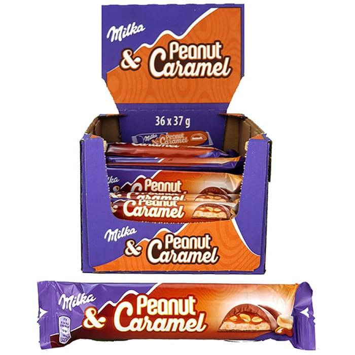 Best Price! Great Value 36 X Milka Peanut & Caramel Chocolate 37g Bars