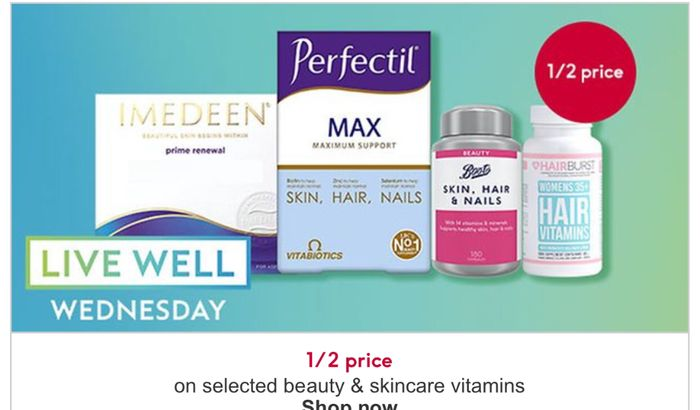 Live Well Wednesday - 1/2 Price on Selected Beauty and Skincare Vitamins