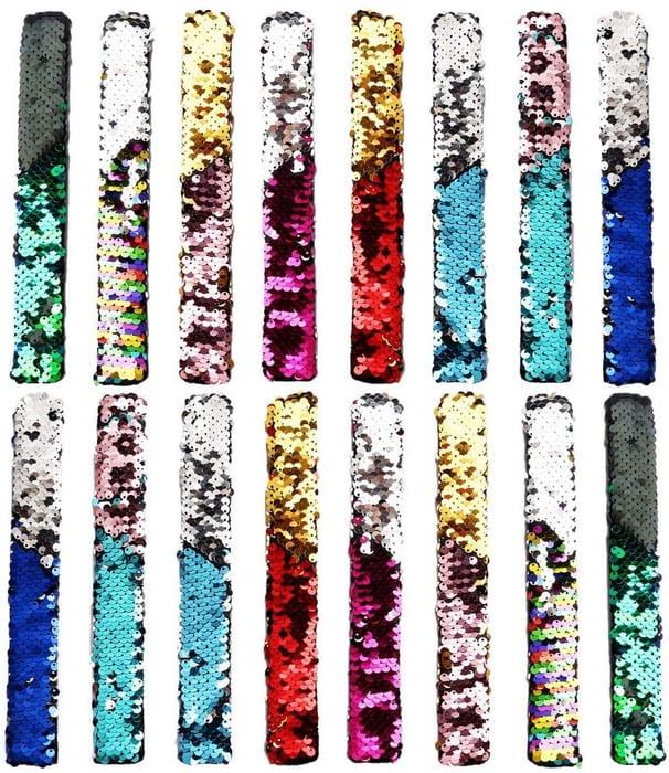 Price Drop! 16 Pcs Sequin Slap Reversible Bracelets