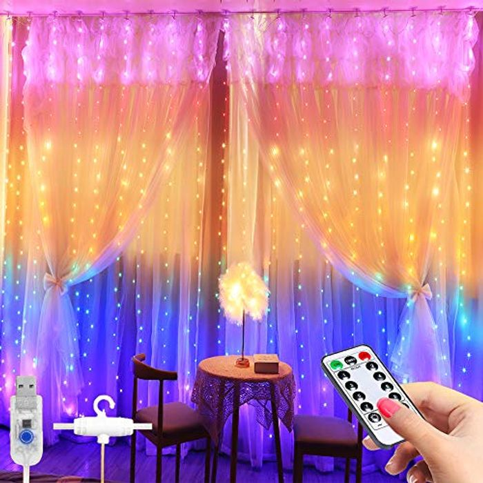 Curtain String Light -3x2.8m 280 LED 8 Modes Fairy Lights with £5 off Coupon