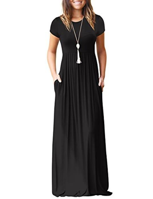 Women's Casual Short Sleeve Plain Long Dress Code works on All