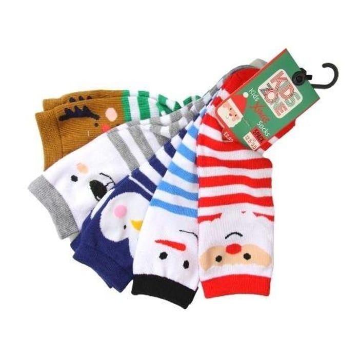 Kids Zone Christmas Socks 5 Pairs