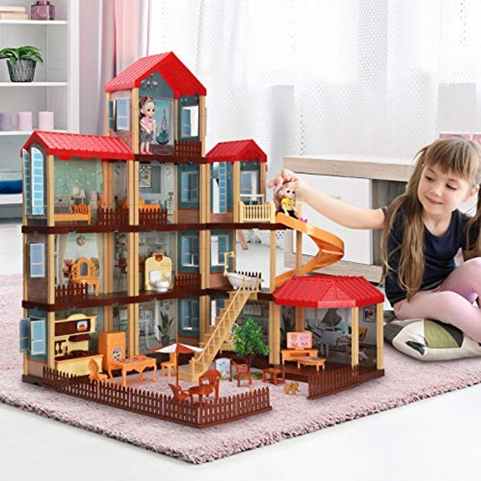 TEMI Dollhouse DIY Pretty Dreamhouse Kit Decorations W/ Furniture