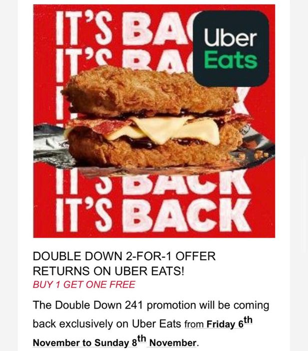 KFC Double down Buy One Get One Free on Uber Eats This Weekend