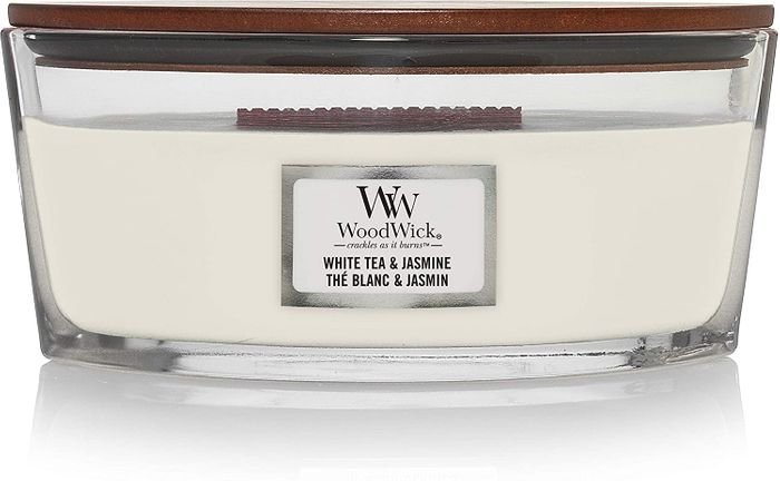 Woodwick Ellipse Crackling Wick Scented Candle | WHITE TEA & JASMINE