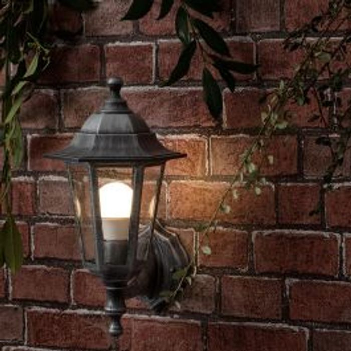 Mayfair Ip44 Outdoor Up/down Lantern in Black and Silver
