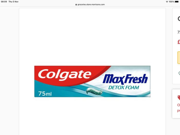 Cheap Colgate Max Pure Detox Foam Toothpaste at Morrisons