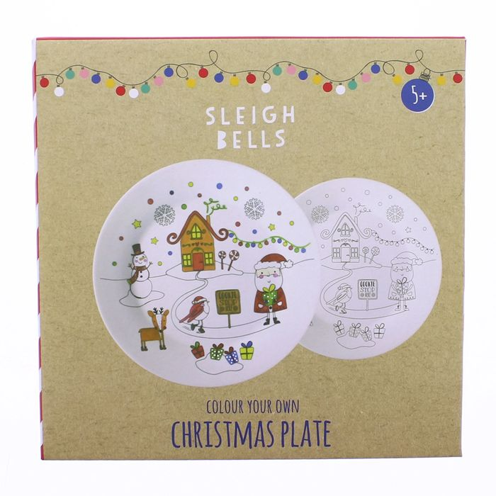 Sleigh Bells Colour Your Own Christmas Plate  £2.79