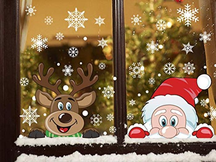 Peeping Santa and Rudolph Stickers - please use link in description