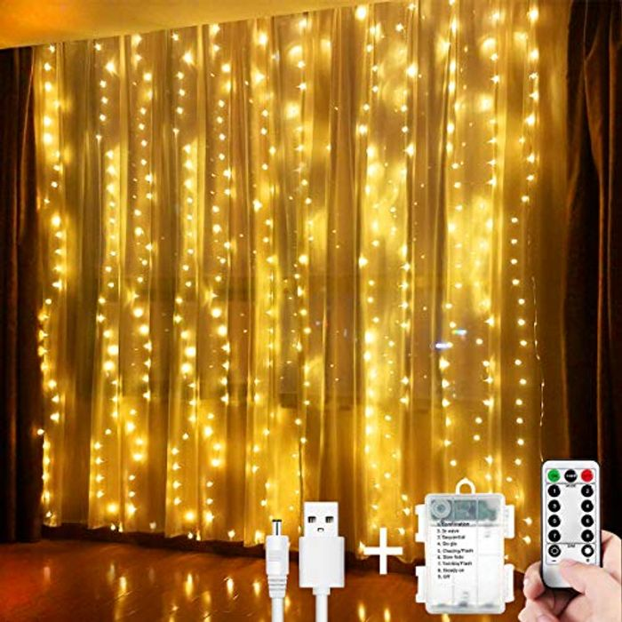DEAL STACK - Led Curtain Fairy Lights + £4 Coupon