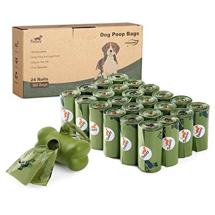 100% Biodegradable Dog Poo Bags with Dispenser - 24 Rolls (360)