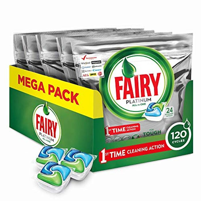 Fairy Platinum Dishwasher Tablets, 5x24 Tablets - Only £16!