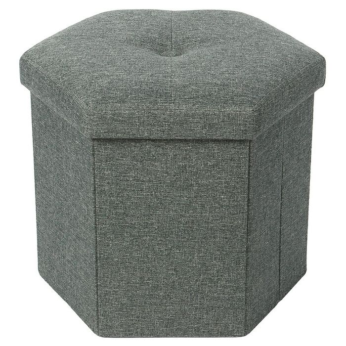 Foldable Hexagonal Poly Linen Ottoman (available in grey & mustard)