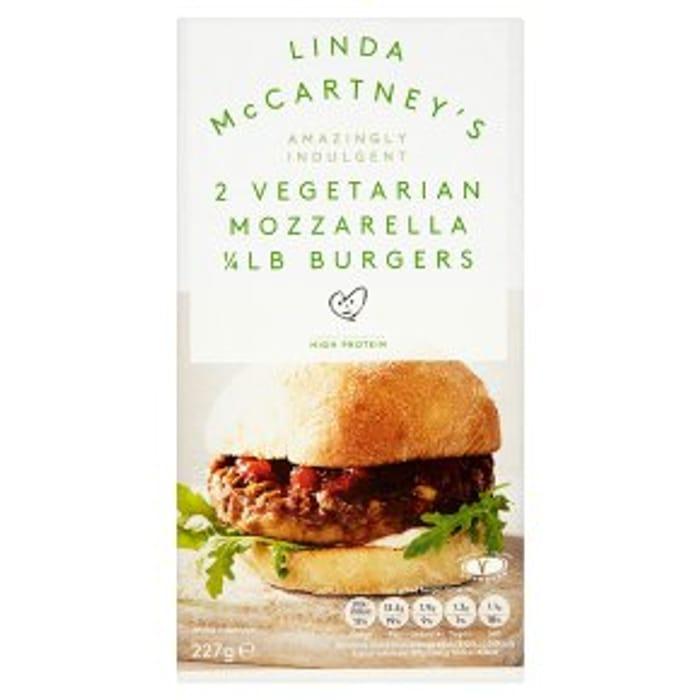 Linda McCartney's 2 Mozzarella 1/4lb Burgers 25% OFF!