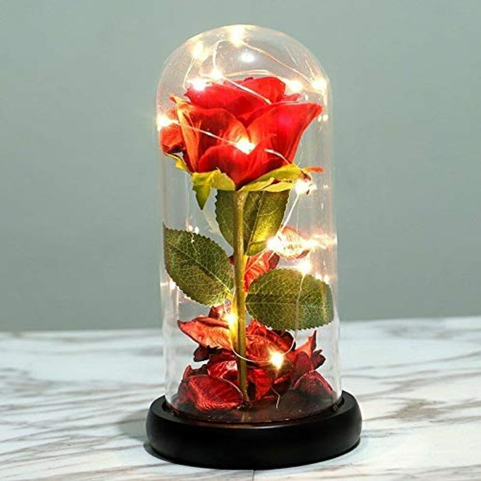 Beauty and the Beast Rose Kit, Red Silk Rose and LED Light
