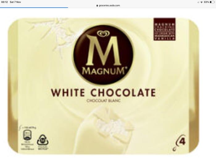 Magnum 4 White Chocolate Ice Creams