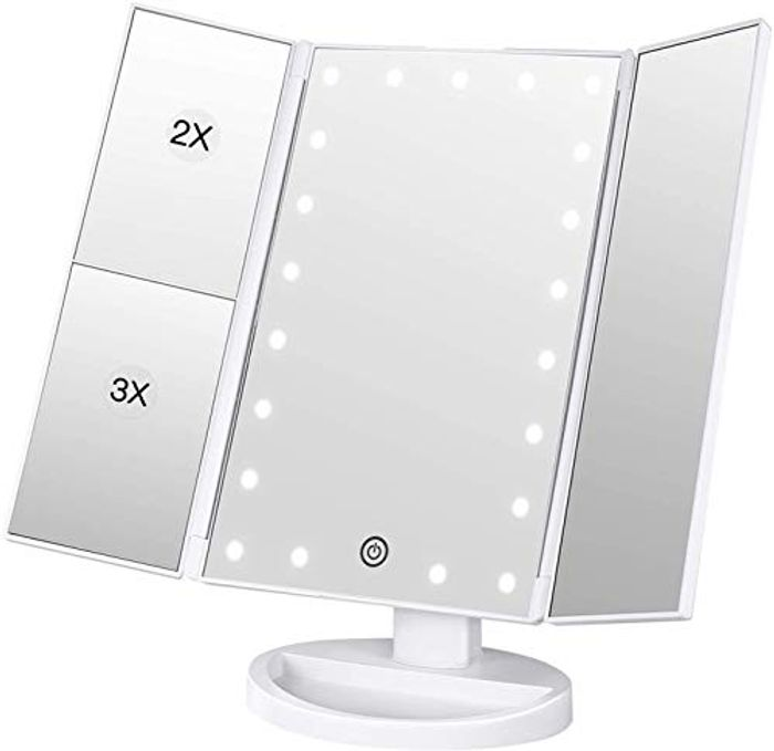 Magnification Vanity Mirror, LED Lights with Adjustable Touch Screen