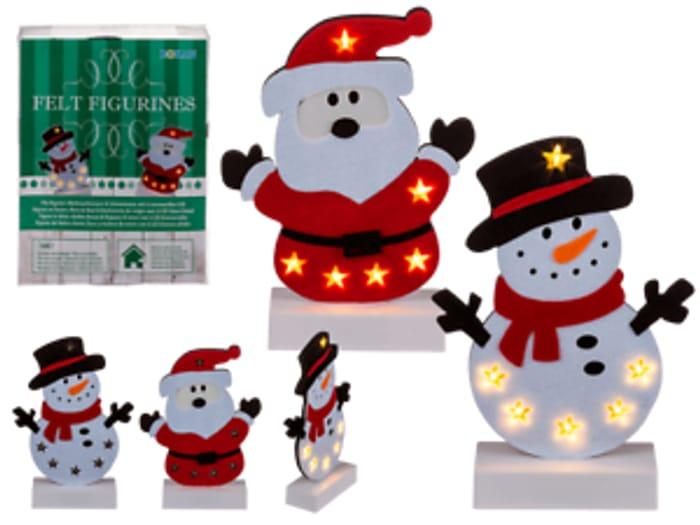 Set of 2 Felt Figurine Christmas Decs with 6 Led Lights