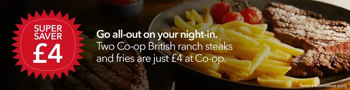 Co-Op Steak and Fries- 2 hr same day delivery slot, min spend £15.