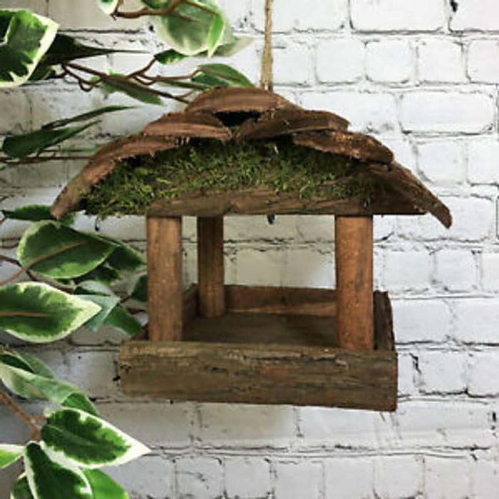 Hanging Wooden Bird Table Feeder Rustic Garden Wild Seed Feeder