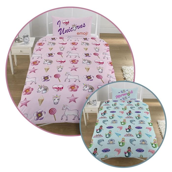 Emoji Unicorn & Mermaid Reversible Single Duvet & Pillowcase