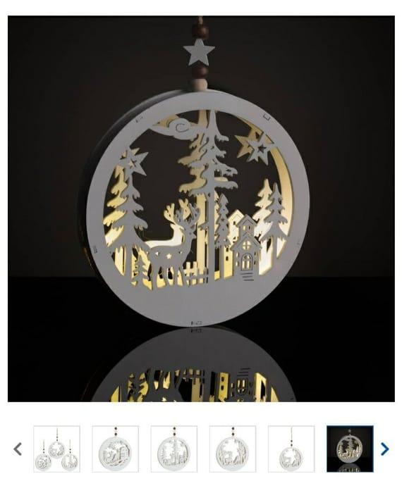 3 Assorted Christmas Magic LIGHT UP Wooden Scene Tree Decoration