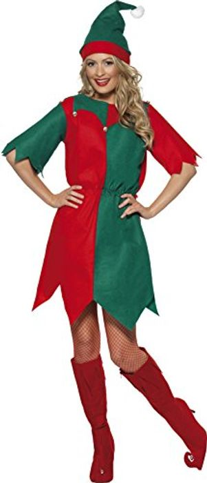 Smiffys Women's Elf Costume, Hat and Tunic, Multicolored (Red/ Green)