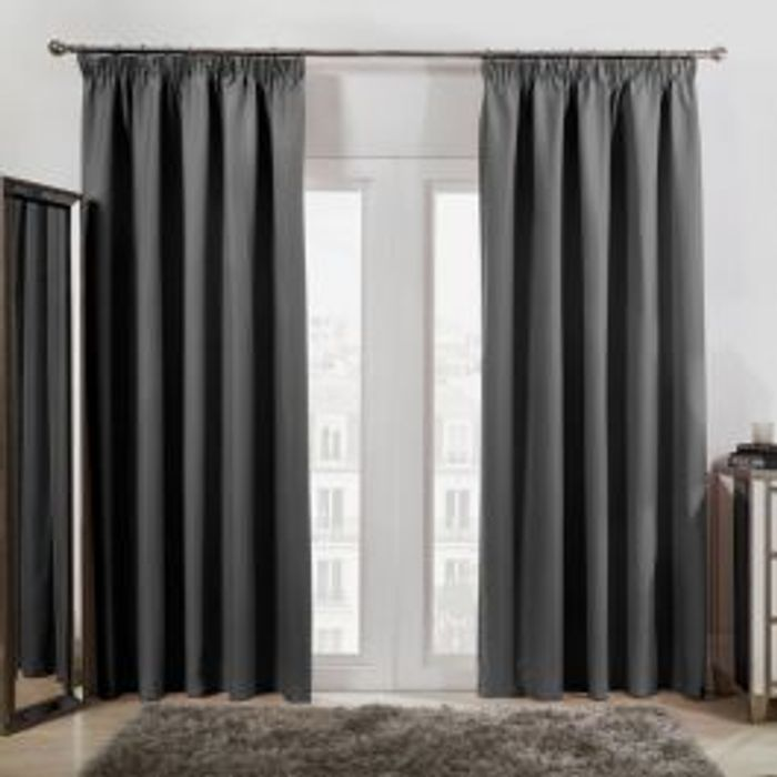 PENCIL PLEAT THERMAL BLACKOUT CURTAINS - CHARCOAL (46 X 54)