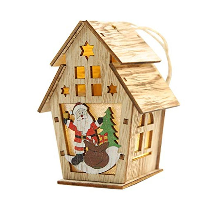 Christmas Wooden House Warm Yellow LED Lights
