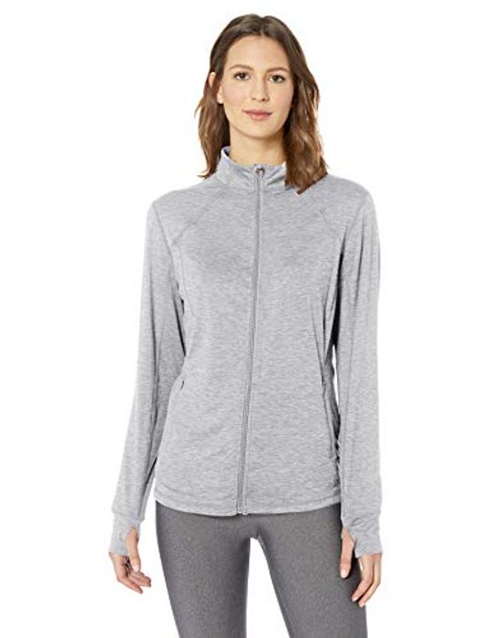 Amazon Womens Brushed Tech Stretch Full-Zip Jacket - Grey Space Dye Size S-M