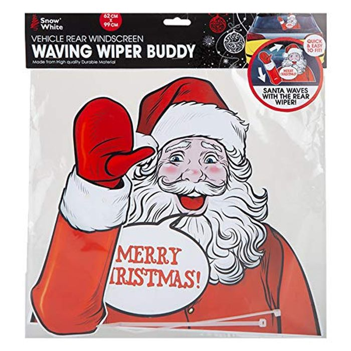 Waving Santa Rear Windscreen Car Wiper Sticker - Free UK Delivery